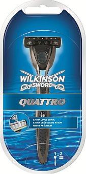 Wilkinson Maquinilla afeitar cuatro hojas con dos recambios Quattro 1 ud