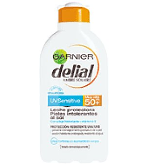 Delial Garnier Leche solar para pieles intolerantes al sol factor de protección 50 Bote de 200 ml