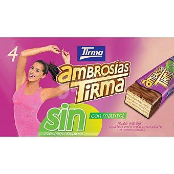 Tirma ambrosías galletas de barquillo cubierta de chocolate con leche sin azúcares añadidos paquete 4 unidades