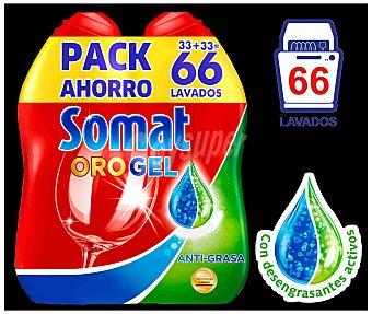 Somat Detergente lavavajillas Oro gel anti-grasa pack 2 botella 33 dosis con desengrasantes activos Pack 2 botella 33 dosis