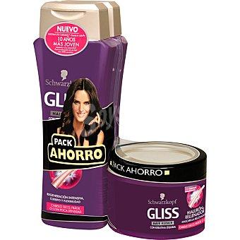 Gliss Schwarzkopf Pack Hialurón con champú regeneración intensiva + mascarilla rellenadora tarro 200 ml Pack 2 frasco 250 ml