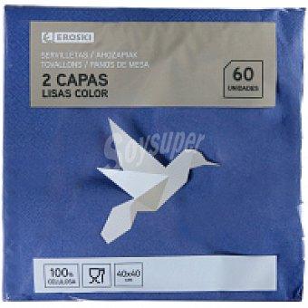 Eroski Servilletas azules 2 capas 40x40 Paquete 60 unid
