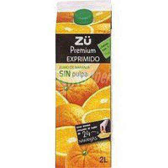 Zü Premium Zumo de naranja exprimido sin pulpa Brik 2 litros