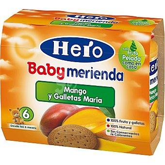 Hero Baby Tarrito frutas mango y galletas María Merienda pack 2x200 g estuche 400 ml