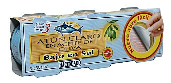 Hacendado Atun claro aceite oliva bajo en sal (abrefacil solapin) 3 latas (240 g - 156 g escurrido)