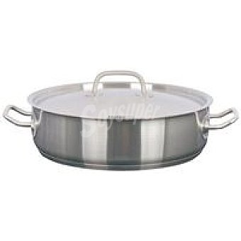 Cazuela Baja con tapa de Acero inoxidable Rostock apto para todo tipo de cocinas, hotekpro Ø 28cm