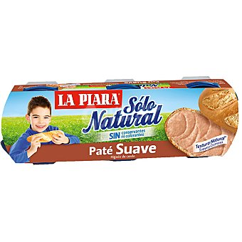 La Piara Sólo Natural Paté suave natural Pack 3x75 g