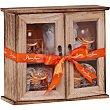 armario de madera Canela Naranja con gel de baño + baño de espuma 170 ml + crema corporal 140 ml + esponja frasco 170 ml Shausa