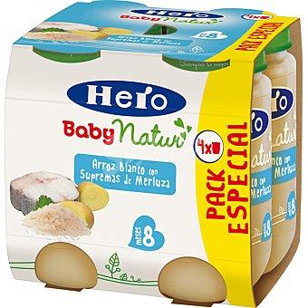 Hero Baby Natur Tarrito de arroz blanco con supremas de merluza Pack 4x235 g