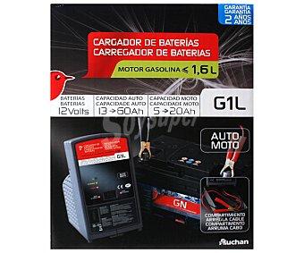Auchan Cargador de baterias de 12V con capacidad de carga de 13 a 60 Amperios hora en coches y de 5 a 20 Amperios hora en motos y recomendado para vehículos con motores gasolina de menos de 1.6 litros 1 unidad