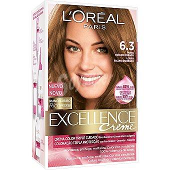 Excellence L'Oréal Paris Tinte Rubio Oscuro Dorado nº 6.3 crema color triple cuidado caja 1 unidad con Pro-keratina + Ceramida + Colágeno Caja 1 unidad