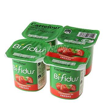 Carrefour Bífidus con fresas Pack de 4x125 g