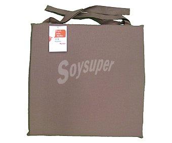 AUCHAN Cojín para silla, color marrón liso, modelo Panama, 40x40 centímetros 1 Unidad