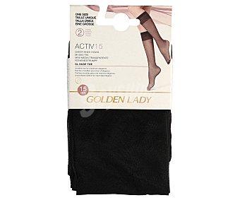 Golden lady Pack de 2 pares de minimedias, 15 den color negro, talla única Activ