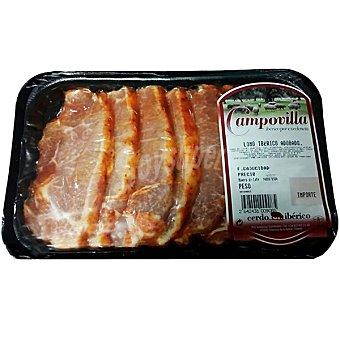 CAMPOVILLA Lomo adobado de cerdo ibérico en filetes peso aproximado Bandeja 450 g