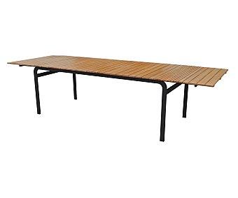 Ikone Mesa rectangular expansible con estructura metálica de color negro, encimera madera de eucalipto de alta calidad 100% FSC y tratada con aceite y medidas de 200-300x100x75 centímetros, modelo Easyway 1 unidad