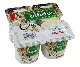 Auchan Yogur sin grasas con bifidus, muesli y soja (leche fermentada desnatada con muesli, proteína de soja y bifidobacterias. Con azúcar y edulcorantes) Pack de 4 unidades 125 gramos