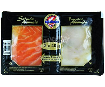 Eurosalmon Surtido de Salmón y Bacalao Ahumado 80 Gramos