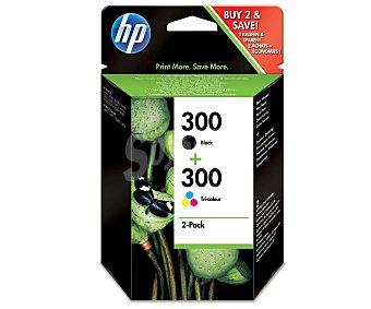 HP Cartucho de tinta, HP Negro 300 + 300 Tricolor (Cian, magenta y amarillo)