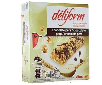 Auchan Barritas de Cereales Con Chocolate y Pera Deliform 138g