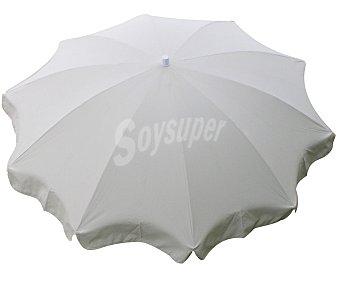 Auchan Parasol fijo de color blanco con estructura de aluminio de 10 varillas y 240 cm 1 unidad