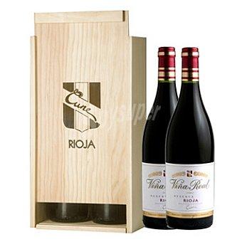 Viña Real Vino tinto reserva D.O. Rioja estuche de madera 2 botellas 75 cl