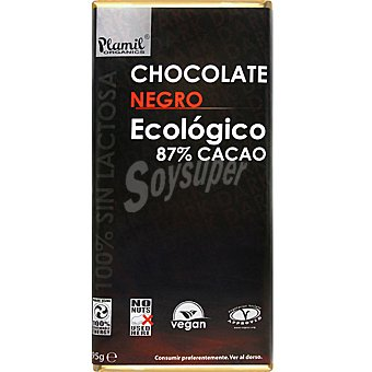 Plamil Chocolate negro ecológico 87% cacao sin gluten Tableta 95 g