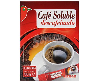 Auchan Café descafeinado soluble 25 sobres