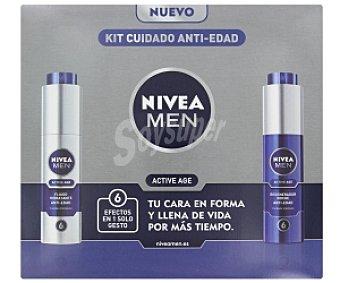 Nivea Kit cuidado antiedad: Fluido hidratante antiedad + regenerador noche antiedad (Active Age) Men 1 Unidad