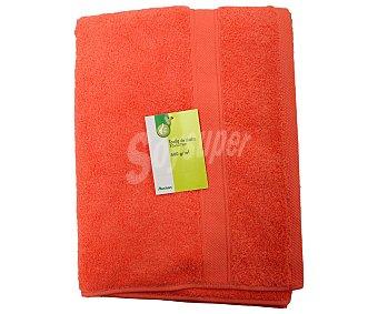 Productos Económicos Alcampo Toalla lisa de ducha de algodón cardado, color coral, 70x127 centímetros 1 Unidad