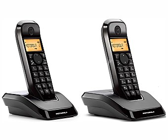 MOTOROLA STARTAC S1202 Teléfono inalámbrico dúo Dect Negro, identificador de llamadas, manos libres, agenda para 50 contactos