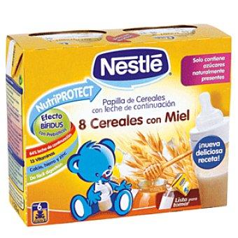 Nestlé Papillas Papilla líquida de 8 cereales con miel desde 6 meses Pack 2 uds x 250 g