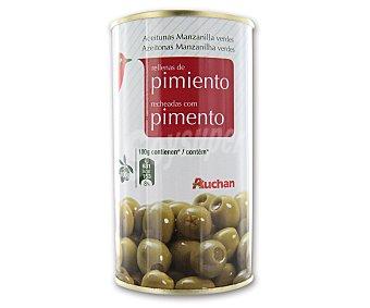 Auchan Aceitunas manzanilla verdes rellenas de pimiento 150 gramos peso escurrido