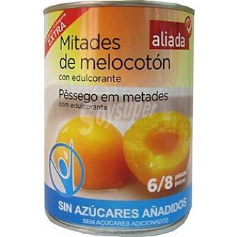 Aliada Melocotón en almíbar en mitades sin azúcar con edulcorante 6-8 piezas Lata 480 g neto escurrido