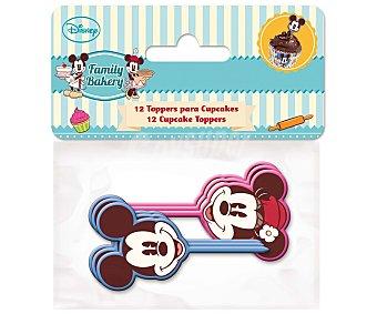 Disney Toppers para cupcakes y pastelitos de Minnie y Mickey Mouse, modelo Family Bakery 24 unidades