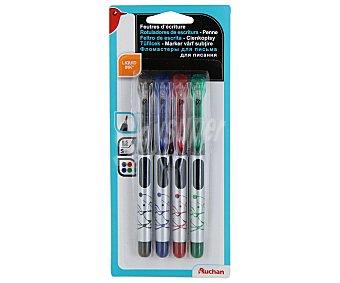 Auchan Lote de 4 rotuladores de escritura, con punta fina con grosor de escritura de 0.5 milímetros y tinta líquida azul, negra, roja y verde 1 unidad