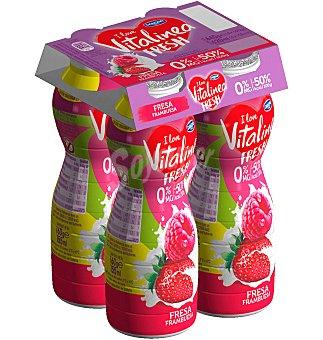 Vitalínea Danone Yogur líquido de fresa y frambuesa 0% Fresh 4 unidades de 160 g