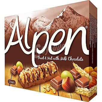 Alpen Barritas de cereales con fruta y nueces cubiertas de chocolate con leche Estuche 145 g