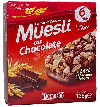 Hacendado Barrita cereales muesli chocolate 6 unidades (138 g)