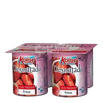 Kalise Yogur desnatado con fresas Pack de 4x125 g