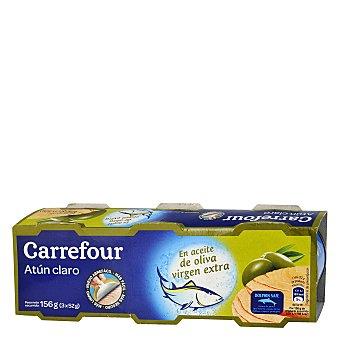 Carrefour Atún claro en aceite de oliva extra Pack de 3x52 g