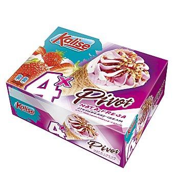 Kalise Cono helado nata/fresa 4 ud