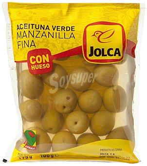 Jolca Aceitunas verdes manzanilla con hueso Bolsa 100 g neto escurrido