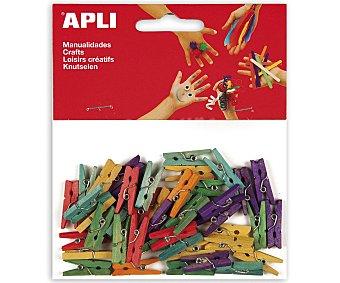APLI Bolsa de 45 minipinzas de madera de 25 x 3 milímetros y de diferentes colores 1 unidad