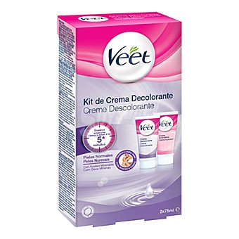 Veet Kit de crema decolorante para pieles normales Pack 2x75 ml