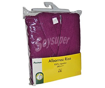 Productos Económicos Alcampo Albornoz de algodón rizo color morado liso talla extra grande 1 Unidad