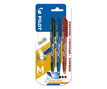 PILOT Frixion 3 bolígrafos roller, grip suave, punta fina grosor 0.7mm, varios colores ball frixion ball