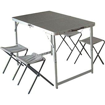 RUNFIT Mesa Pic-nic plegable con sillas en color gris