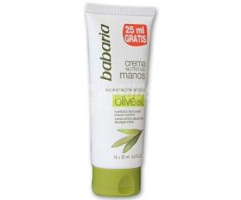 BABARIA Crema de manos hidratación intensa con aceite de oliva 100 mililitros
