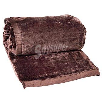 CASACTUAL Raschel New Manta lisa en color chocolate para camas de 90 y 105 cm